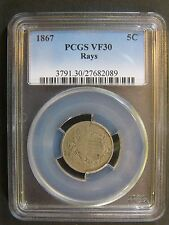 1867 Shield Nickel with Rays PCGS VF 30 Cert# 27682089