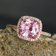 2.69 Ct Real Diamond Pink Sapphire Ring 14K Solid White Gold Rings Size 4 5 6 7
