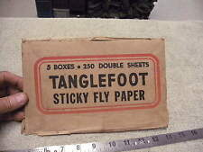 Vintage 1940s era Tanglefoot Sticky Fly paper Box End Flap , Cut From Orignal Bo