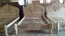 UK Double 100% Mahogany Wood french style Rococo bed  WITH Pillow Top Mattress