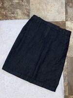 TALBOTS ~ Size 6P ~ Dark Wash Indigo Denim Pencil Skirt With Venting Split