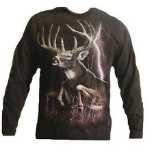 The Mountain Lightning Deer  Long Sleeve Whitetail T-Shirt M, L, 4X NEW