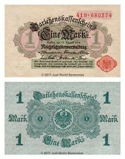 Germany 1 Mark 1914 P-51 (Red Seal and Serials) Banknotes  UNC