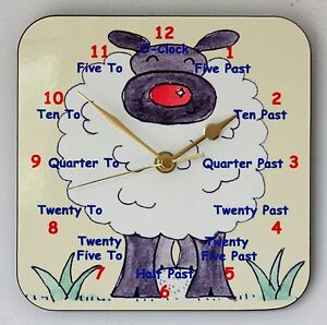 Childrens Teaching Wall Clock Sheep Learn to tell the Time Size 19cm by 19cm