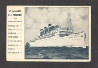 VINTAGE PRINTED POSTCARD:  S.S. PROVIDENCE - FABRE LINE, 1915 - Writing on Back