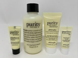 Philosophy 4pc PURITY Facial Cleanser Pore Extractor Mask Moisturizer Eye TRAVEL