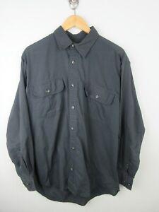 Cabela's Mens Shirt Size M Long Sleeve Button Up Regular Fit Grey Black Adult