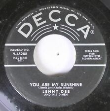 50'S Decca Nos 45 Lenny Dee And His D-Men - You Are My Sunshine / Walking The Fl