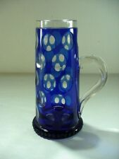 FENTON ART GLASS: COBALT BLUE COIN DOT SPOT CUT TO CLEAR MUG / TANKARD DIFFERENT