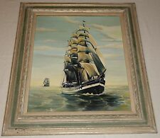 Signed Original Oil on Canvas Board Painting. Sailing Ships on the Open Ocean