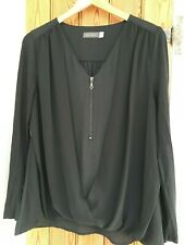 MINT VELVET BLACK LONG SLEEVED TOP WITH ZIP FRONT SIZE 14