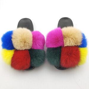 Fur Slippers Pom Pom Slides Women Real Whole Fox Fur Home Indoor Slides Multi