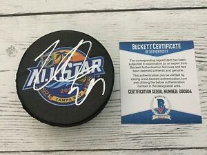 Nathan Mackinnon Signed 2018 NHL All Star Hockey Puck Beckett BAS Avalanche a