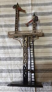 VINTAGE 0 GAUGE DOUBLE ARM SIGNAL TOWER - MADE IN GERMANY