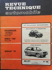 Revue technique RENAULT 14 VW VOLKSWAGEN COX COCCINELLE + UTILITAIR RTA 368 1977