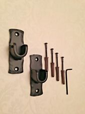A Pair of Iron Metal Recess Curtain Voile Pole Rod Brackets in Black