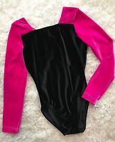 New GK ELITE Gymnastics LEOTARD Dance COMPETITION Black PINK Bodysuit Sz AS