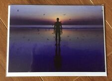 Antony Gormley's Another Place Iron Men Crosby Blank Greetings Card Purple Birds