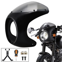 "7""Motorcycle Front Headlight Cafe Racer Handlebar Fairing Windshield Vivid Black"