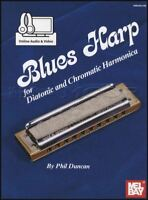 Blues Harp for Diatonic & Chromatic Harmonica Sheet Music Book with Audio