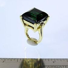 "Kenneth Jay Lane Crystal Emerald Gold Adjustable Ring 5 - 8 ""As Is"""