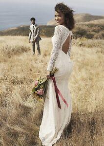 Galina All Over Lace Long-Sleeve wedding Dress Sz 2 Bohemian Style Wedding Dress