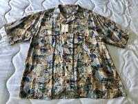 Roundtree & Yorke Mens -  Short Sleeve Shirt with pockets - Hawaiian Print - New