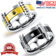 Men's Ring, Stainless Steel Cubic Zirconia 9mm Comfort Fit Wedding Band
