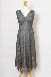 Nancy Mac Sz 1 UK 10 Kristen Vintage Style Pink & Green Lace Dress Occasion