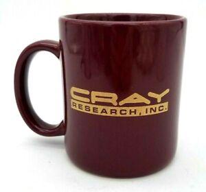 Vintage CRAY Research Recycling Award Mug Maroon Burgundy Gold Ceramic Computer