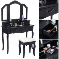 Black Tri-Folding Mirror Vanity Set 4 Drawers Dressing Table Makeup Desk & Stool