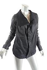 RICK OWENS DRKSHDW Black Cotton Blend Leather Funnel Neck Denim Jacket Sz M