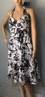 Wallis Womens Halter Neck Flared Summer Dress U.K. Size 12 Black Grey White Exc