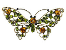 Peridot Crystal Rhinestone Gold Tone Long Winged Butterfly Bug Pin Brooch BIG