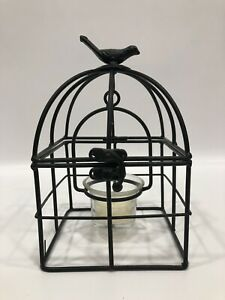"""Bird On a Black Cage Country Farm Rustic Swinging Candle Holder 7"""" Tall"""