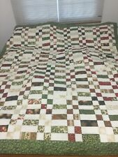 Homemade quilt 72x80 quilt red green white- Free Shipping