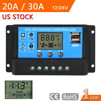 20/30A 12/24V PWM Solar Panel Battery Regulator Charge Controller LCD Display MT