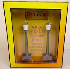 RAIL KING BY MTH #1058 SET OF TWO #35 GRAY DIE-CAST STREET LAMPS-MIB!