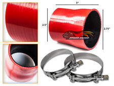 """RED Silicone Reducer Coupler Hose 2.75""""-2.5"""" 70 mm-63 mm + T-Bolt Clamps BMW"""