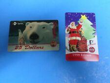TWO COCA-COLA VINTAGE CHRISTMAS PHONE CARDS , 1998 EDITION W/SANTA ANS POLAR BE