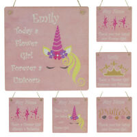 Flower Girl Unicorn Gifts Wedding Thank You Favours Personalised Name Plaque