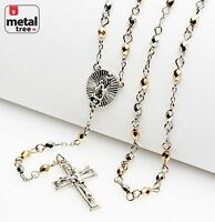 "Men's Silver Gold Plated 4mm Bead Guadalupe & Jesus Cross 25"" Rosary HR 700 SGD"