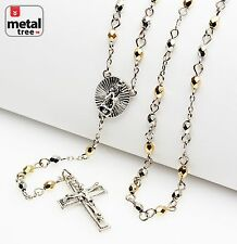 """Men's Silver Gold Plated 4mm Bead Guadalupe & Jesus Cross 25"""" Rosary HR 700 SGD"""