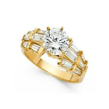 Big Round Cz Engagement Ring 14k Yellow Gold Anniversary Solitaire Cz Band Ring