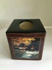 English Horse Picture Ceramic Tissue Box Cover Dark Brown 4 - photo scenes New