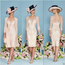 Plus Size Blush Pink Lace Knee Length Mother of Bride Dress Suit Jacket Formal