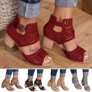 Women's Ladies Low Block Heel Sandals Ankle Strap Work Smart Shoes Size 35-43