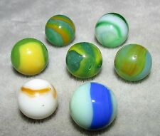 "M4533 VINTAGE PELTIER VARIOUS  7 LOT MARBLES  5/8""  +/-  NEAR  MINT"