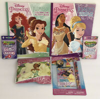6 Disney Princess Jumbo Coloring Activity Book Glitter Crayons Puzzle Set Tiana