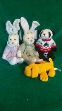 2 victorias garden rabbits 1 chrisha playful plush panda 1 yellow dog BEST OFFER
